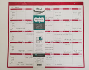 "Mead Organizher Magnetic Monthly Desk Pad Calendar, Undated 20"" x 17"""