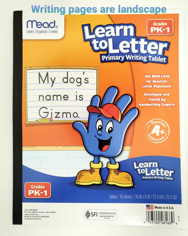 Mead® Learn to Letter Primary Writing Tablet, 40 ct, Grades PK-1 (48166)