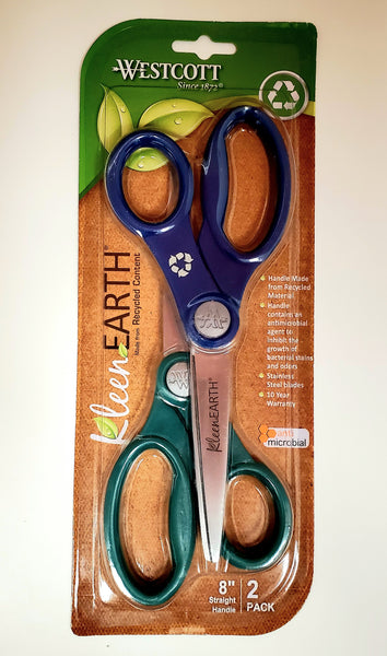 "Westcott 8"" Scissors, 2 Pack, Kleen Earth, Assorted Colors"
