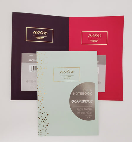 "Cambridge Meeting ""notes"" Journal, 5.5"" x 8.5"", 80 Pages, Casebound, Assorted Colors"