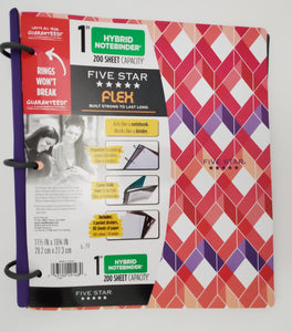 "Five Star Flex Hybrid 1"" Notebinder, Assorted Designs (29148)"