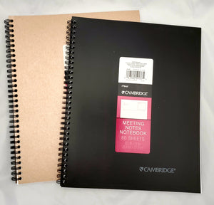 "Cambridge Large Meeting Notes Notebook, 8.5"" x 11"", Black or Gold (59137)"