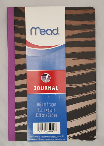 "Mead Taped Spine Journal 5.5"" x 8.5"" Animal Print Design (44049)"