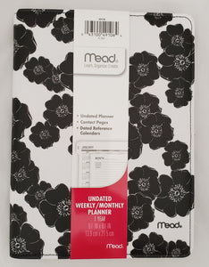 Mead Printed Canvas Black Floral Classic Weekly/Monthly Planner (49106)
