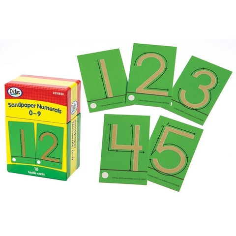 Didax Sandpaper Numerals, Writing Numbers 0-9, 10 Tactile Cards (210828)