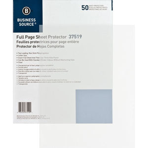 Business Source Full Page No Hole Sheet Protectors, Clear, 50 Count (37519)