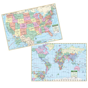 "KAPPA Map US/World Rolled Map Combo, 40"" x 28"" (12489/25176)"