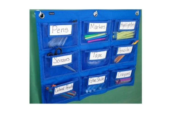 Mead Class Supplies Wall Storage, 9 Pockets, Blue (72344)