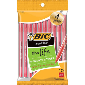 Bic Round Stic Xtra Life Ballpoint Pens, Red Ink, Med Point 10 Count (90609)