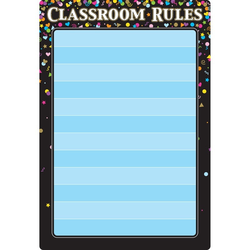 "Ashley Smart Poly® Chart Dry Erase Black Confetti Classroom Rules, 13"" X 19"" (91085)"