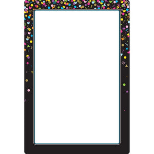"Ashley Smart Poly® Chart Dry Erase Black Confetti Blank, 13"" X 19"" (91087)"