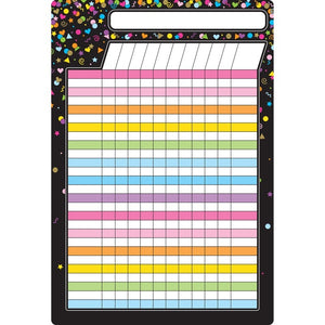 "Ashley Smart Poly® Chart Dry Erase Black Confetti Incentive Chart, 13"" X 19"" (91090)"