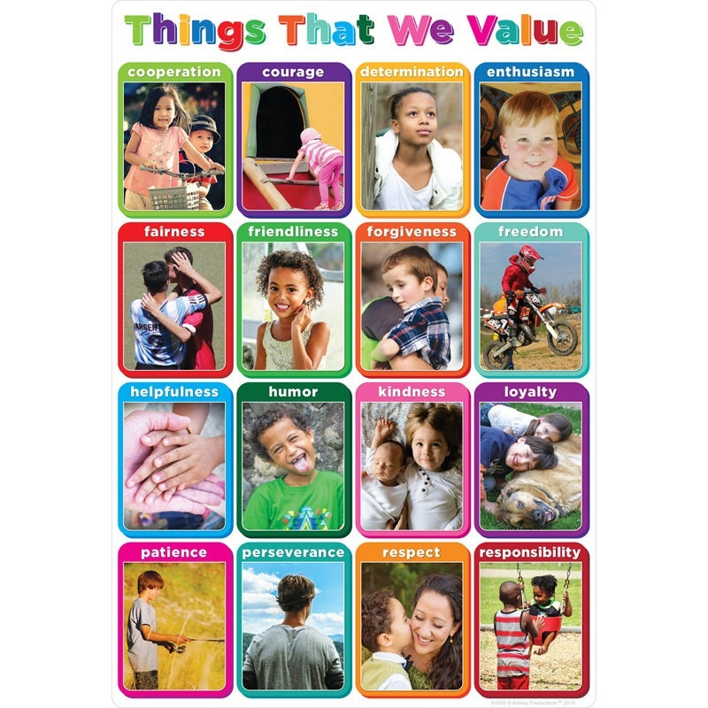 "Ashley Productions® Smart Poly® Chart Things We Value 13"" X 19"" (ASH91095)"