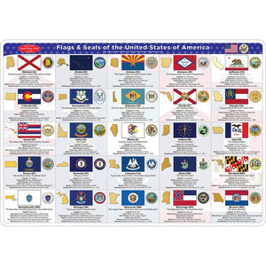 Ashley Smart Poly® Double-sided Laminated Learning Mat, State Flags (95035)