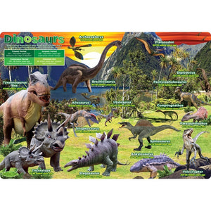"Ashley Productions® Smart Poly® Single Sided Postermat Pals®, Dinosaurs, 12"" X 17.25"" (ASH95200)"