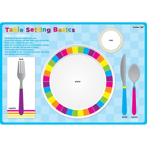 "Ashley Smart Poly® Single Sided Postermat Pals®, Place Setting Table Basic, 12"" X 17.25"" (95203)"