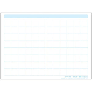 "Ashley Smart Poly® Dry Erase Postermat Pals® 1"" Grid Graph, 13"" X 9.5"" (95319)"