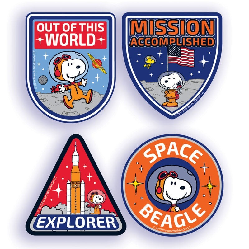 Eureka Peanuts® Nasa Sticker Badges, Pack Of 40, Snoopy (659584)