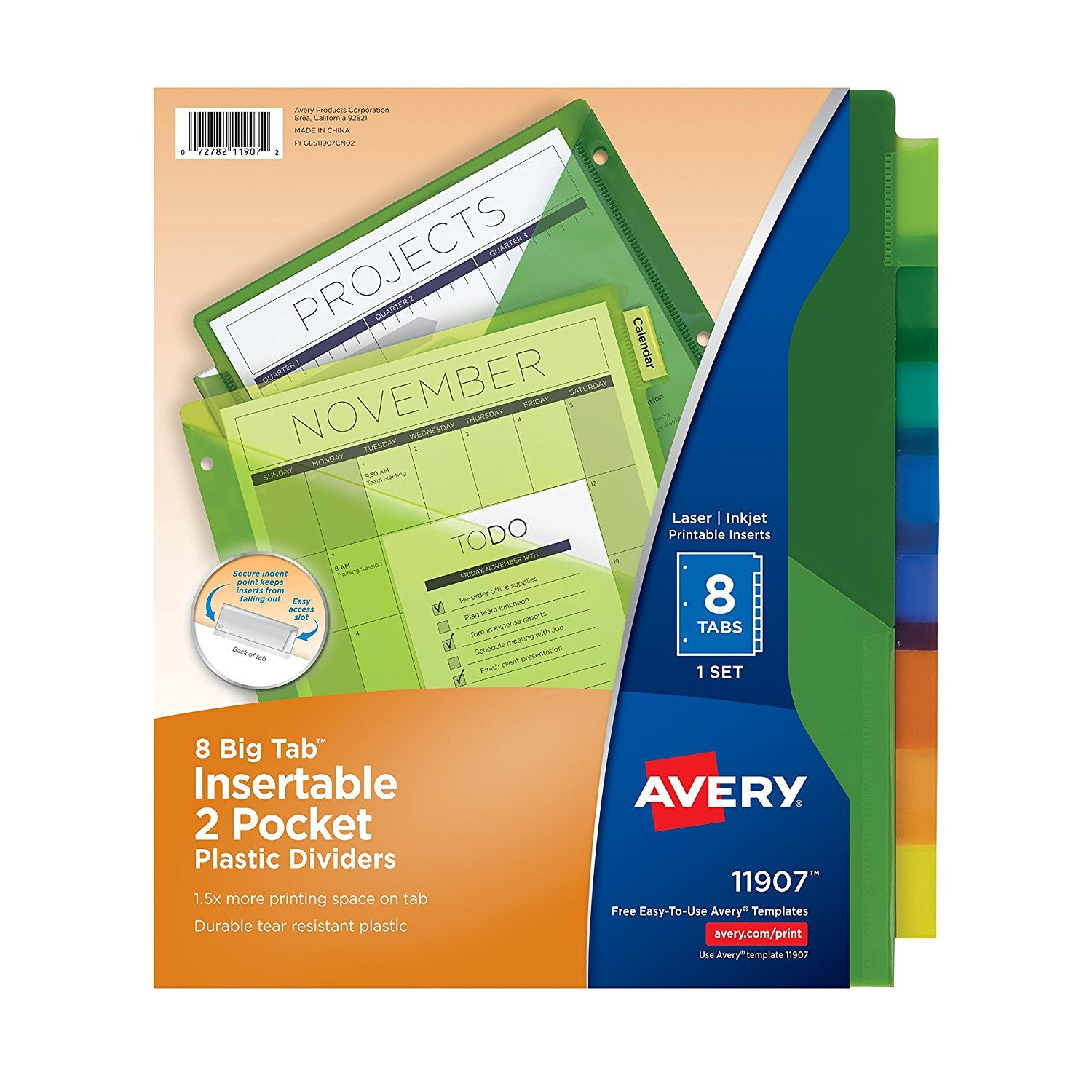 Avery Big Tab Two-Pocket Insertable Plastic Dividers, 8-Tab Set, 1 Set (11907)