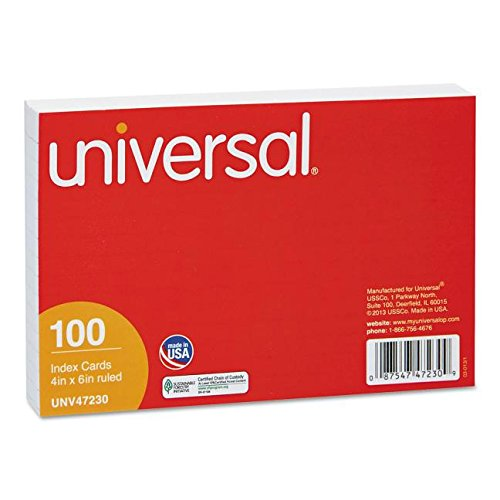Universal 4x6 Ruled Index Cards, White, 100 Pack