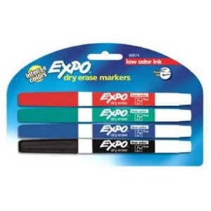EXPO Dry Erase Markers, Thin, Low Odor Ink, 4 Pack (86674)