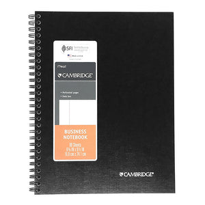 "Cambridge Business Notebook, Date Box, 6-5/8"" x 9-1/2"", Black, 80 Sheets (29685)"