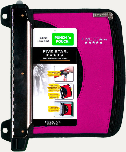 Five Star Punch 'n Pouch, Pencil Pouch includes 3-hold punch, Various Colors (50896)