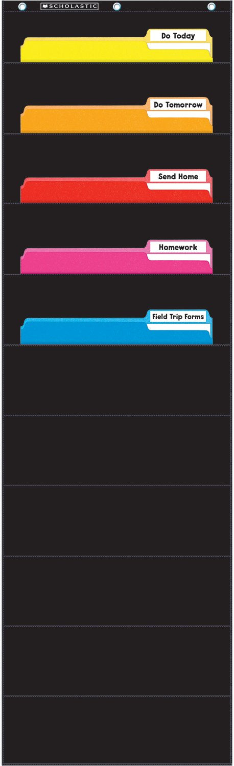 Scholastic File Organizer Pocket Chart, Black