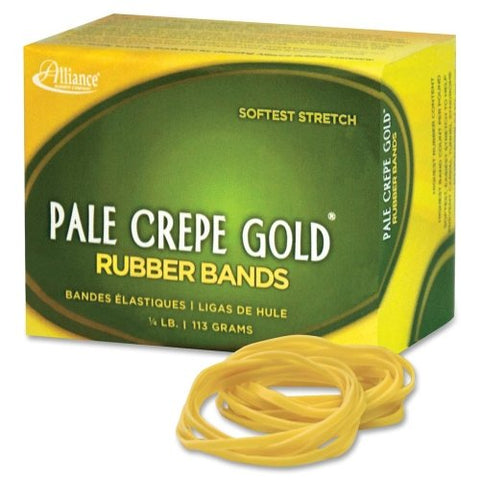 "Alliance Pale Crepe Gold Rubber Bands #16, 1/4 lb, 113 Grams 2.5"" x 1/16"""