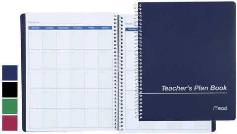 "Mead Wirebound Teachers Planning Book 8 1/2"" x 11"", Assorted Colors (50082)"