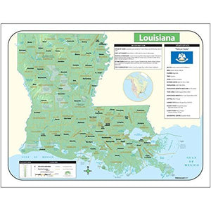 Kappa Laminated Shaded Relief Topographical Universal State Map of Louisiana