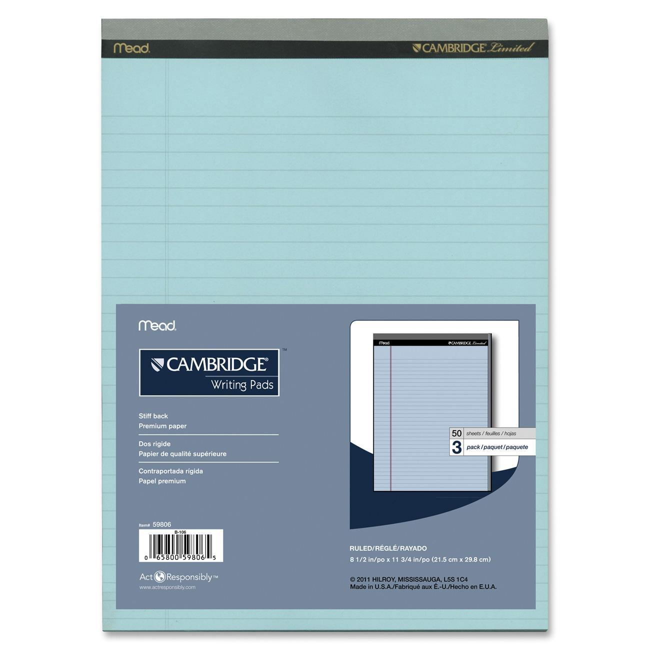 "Mead Cambridge Writing Pad 3 Pack, 8.5"" x 11"" (59806)"