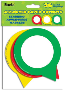 Eureka Learning Adventures Markers Assorted Paper Cutouts, 36 Pack