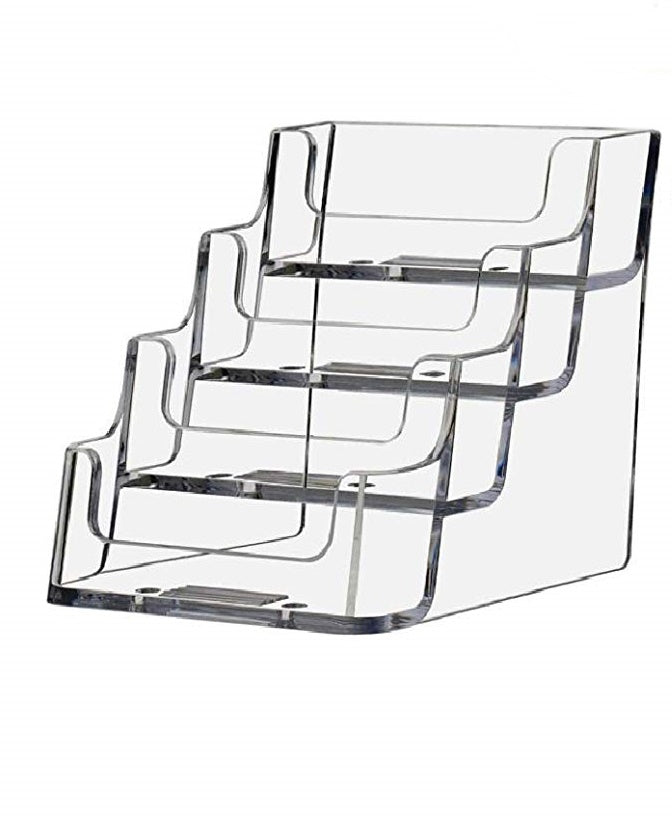 "4 Pocket Business Card Holder, Holds 2"" x 3.5"" Cards, Four-Tier, Clear"