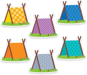 Creative Teaching Press Pup Tents Designer Cut Outs, Assorted Colors, 36 Pack (CTP 6010)