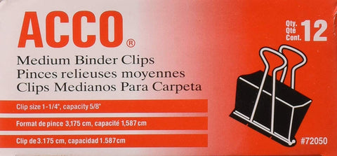 "ACCO Medium Binder Clips, 1-1/4"" Clip Size, 12 Count, (72050_"