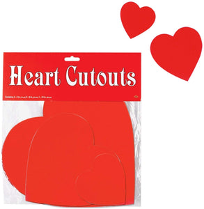 "Beistle Hearts 4"" 9"" 12"" Cut Outs Valentine's Day Decorations, Pack of 9 (77866)"