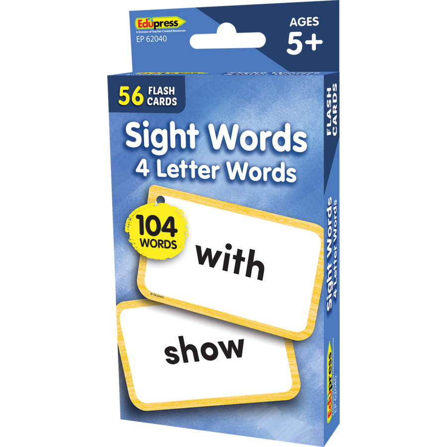 Edupress Sight Words Flash Cards - 4 Letter Words, 56 Cards (EP62040)