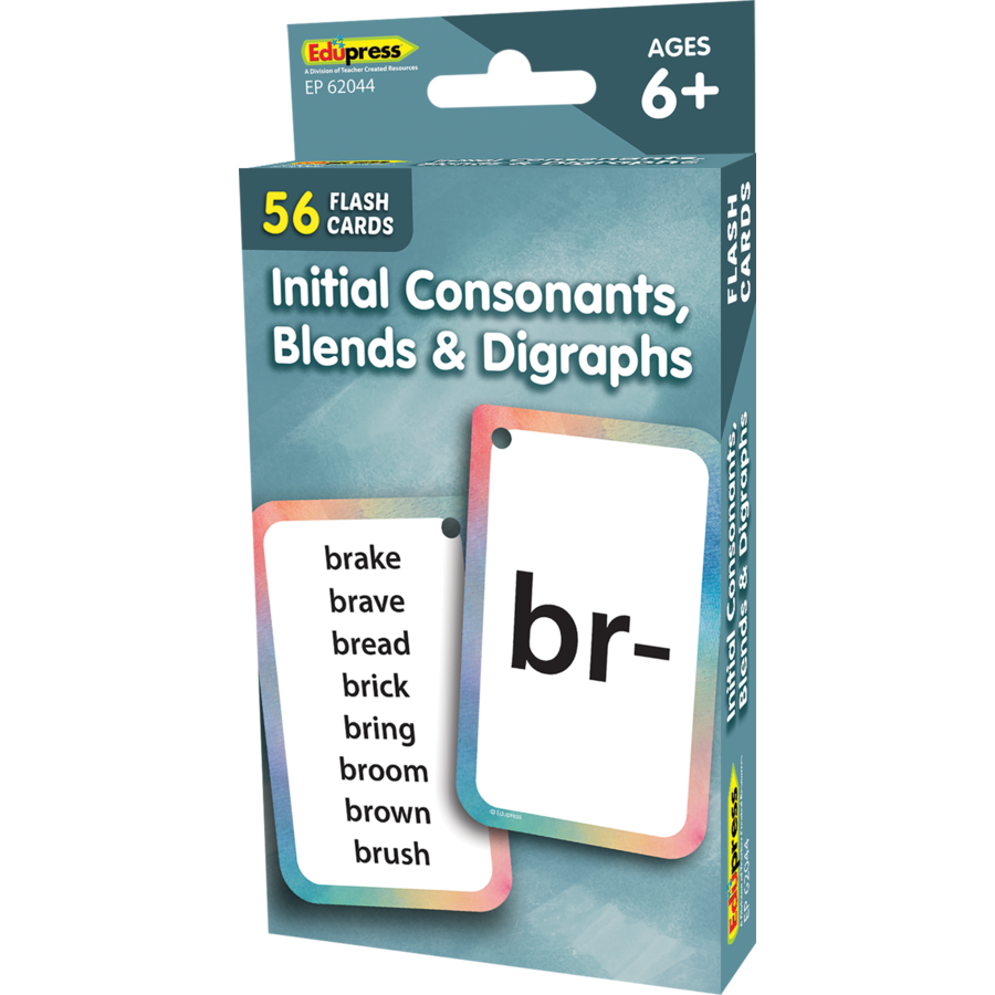 Edupress Initial Consonants, Blends, & Digraphs Flash Cards, 56 Cards (EP62044)