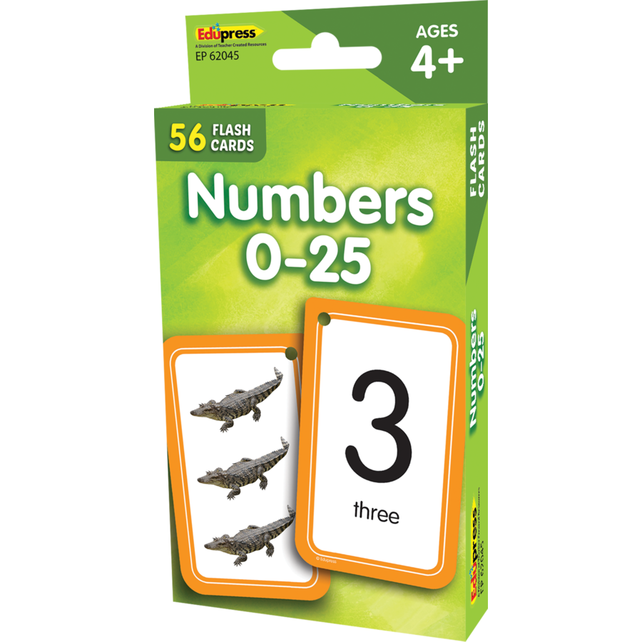 Edupress Numbers 0-25 Flash Cards, 56 Cards (EP62045)