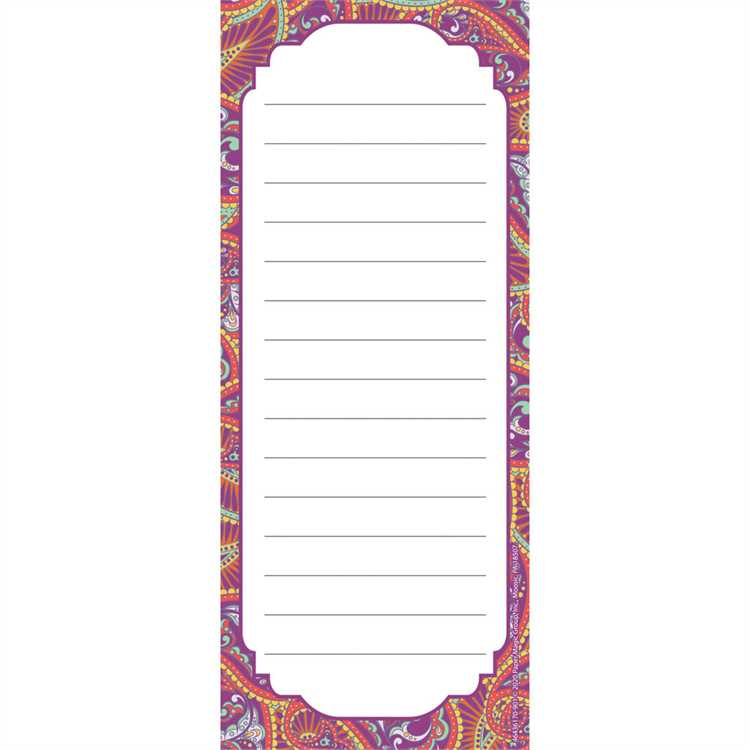"Eureka Positive Paisley Note Pad, 3.5"" x 8.5"", 50 Sheets (643617)"