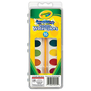 Crayola Washable Watercolor Paint Set, 16 colors, Includes Paintbrush
