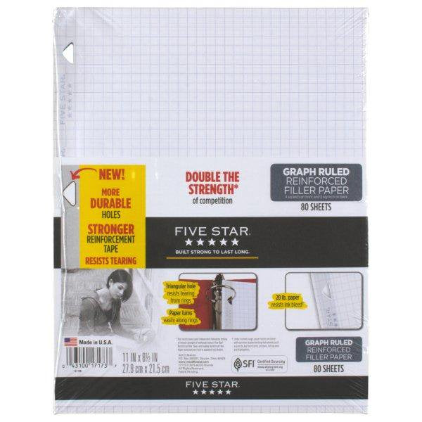 "Five Star Filler Paper, Graph Ruled, Reinforced, 4 in/sq, 11 x 8-1/2"", 80 Sheets (17173)"