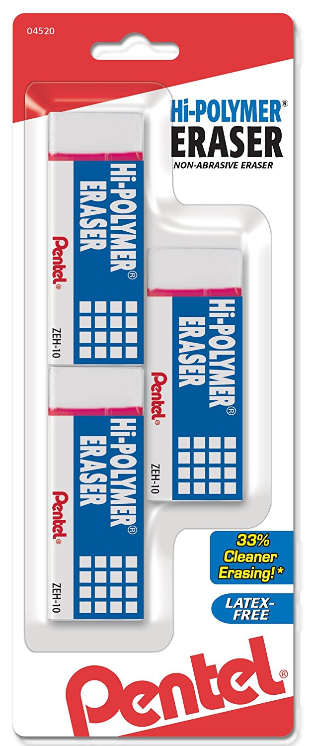 Pentel Hi-Polymer Block Erasers, Large, 3 Pack, White, Latex-Free