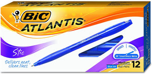 Bic Atlantis Stic Ballpoint Pens, Pack of 12, Blue, Medium Point (14784)
