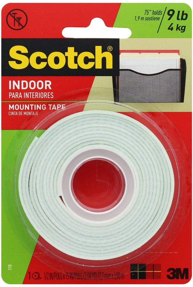 "Scotch Indoor Mounting Tape, .5"" x 75"""