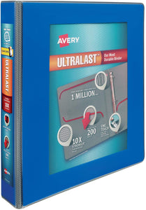 "Avery 1.5"" Ultralast 3 Ring Binder, One Touch Slant Ring, Blue (79712)"