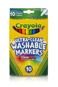 Crayola Ultra-Clean Washable Markers, Fine Line, Pack of 10