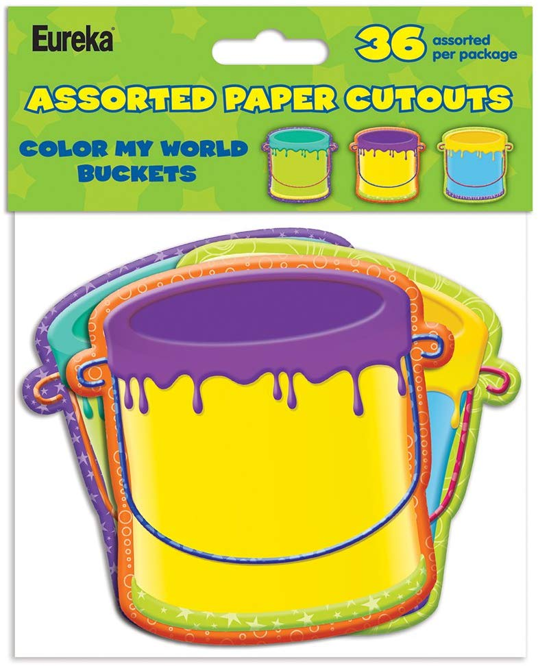 Eureka Color My World Buckets Assorted Paper Cut-Outs, 36 Pack (841007)