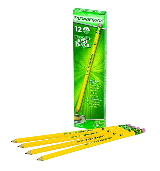 Ticonderoga 12 Pack #2 Pencils Pre-Sharpened (13806)
